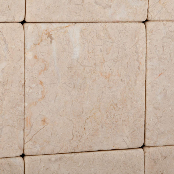 Bursa Beige / Sandy Beige Marble 4 X 4 Tumbled Field Tile - 4-pcs. Sample-Set