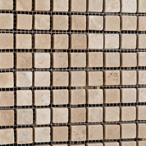 Durango Cream (Paredon) Travertine 5/8 X 5/8 Tumbled Mosaic Tile - Lot of 50 Sheets