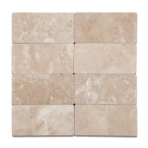 Durango Cream (Paredon) Travertine 3 X 6 Subway Field Tile, Tumbled - 2-pcs. Sample Set