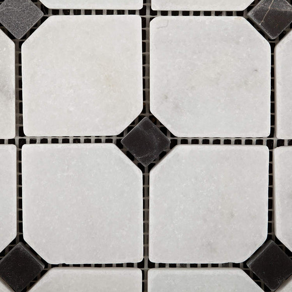 Bianco Venatino Marble Tumbled Octagonal Mosaic Tile w/ Black Dots - Box of 5 Sheets