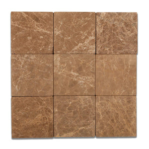 Emperador Light (Cedar) Marble 4 X 4 Tumbled Field Tile - 4-pcs. Sample-Set
