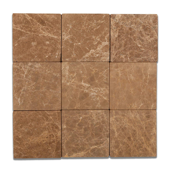 Emperador Light (Cedar) Marble 4 X 4 Tumbled Field Tile - Box of 5 sq. ft.