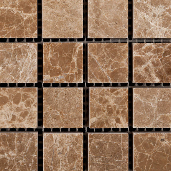 Emperador Light (Cedar) Marble 1 X 1 Polished Mosaic Tile - Box of 5 Sheets