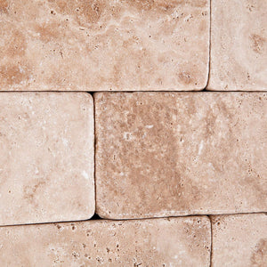 Andean Vanilla Peruvian Travertine 3 X 6 Tumbled Field Tile - 2-pcs. Sample Set