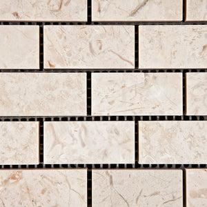 "Crema Diva Marble 1 X 2 Polished Brick Mosaic Tile - 6"" X 6"" Sample"