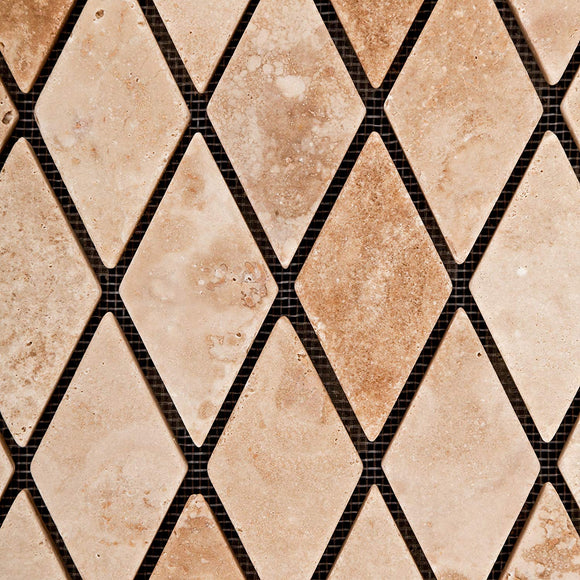 Andean Vanilla Peruvian Travertine Diamond - Rhomboid Tumbled Mosaic Tile - Lot of 50 Sheets