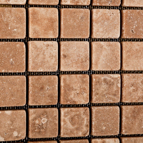 Andean Walnut Peruvian Travertine 1 X 1 Tumbled Mosaic Tile - 6