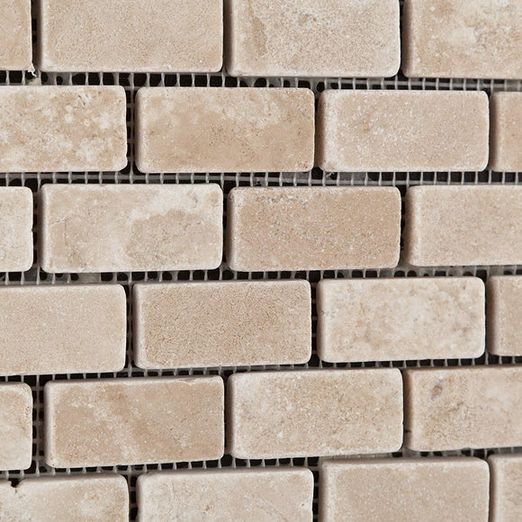 Durango Cream (Paredon) Travertine 1 X 2 Tumbled Brick Mosaic Tile - 1 Full Sheets