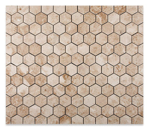"Cappuccino Marble 2"" Hexagon Polished Mosaic Tile - Lot of 50 Sheets"