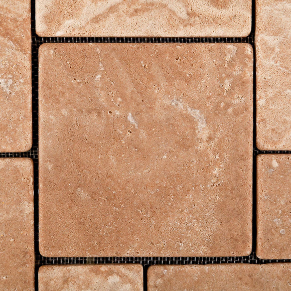 Andean Walnut Peruvian Travertine OPUS Mini-Pattern Tumbled Mosaic Tile - Box of 5 Sheets