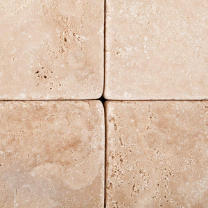 Andean Vanilla Peruvian Travertine 4 X 4 Tumbled Field Tile - 4-pcs. Sample Set