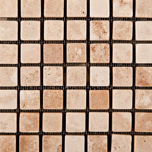 Andean Vanilla Peruvian Travertine 5/8 X 5/8 Tumbled Mosaic Tile - Box of 5 Sheets