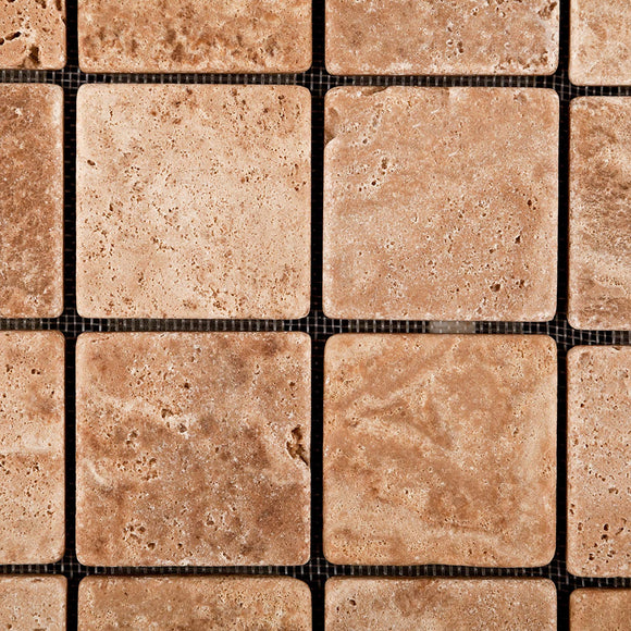 Andean Walnut Peruvian Travertine 2 X 2 Tumbled Mosaic Tile - Lot of 50 Sheets