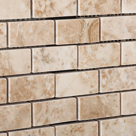 Cappuccino Marble 1 X 2 Brick Polished Mosaic Tile - Lot of 50 Sheets