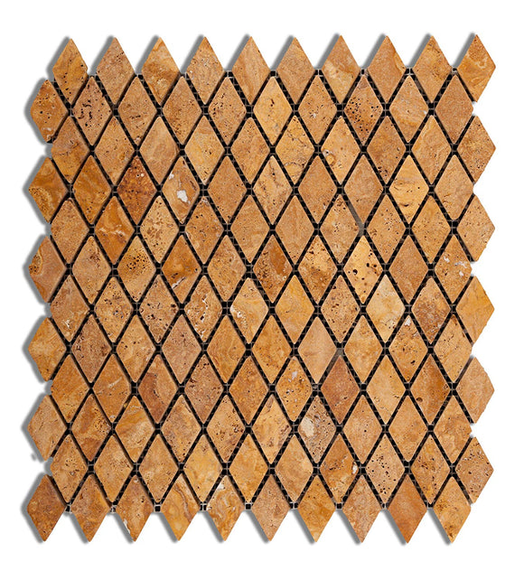 Gold / Yellow Travertine 1 X 2 Diamond - Rhomboid Tumbled (Matte / Non-Shiny) Mosaic Tile - 6