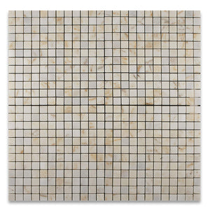 "Turkish Afyon Sugar Marble Tumbled 1 X 1 Mosaic Tile on Mesh - 6"" X 6"" Sample"
