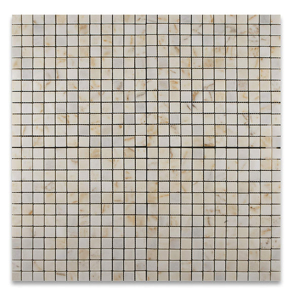 Turkish Afyon Sugar Marble Tumbled 1 X 1 Mosaic Tile on Mesh - 6