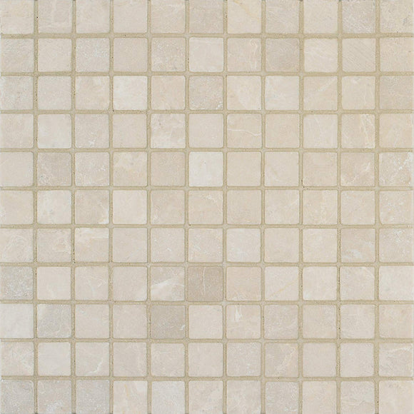 Arizona Tile 12 by 12-Inch Mosaic made from 1 by 1-Inch Tumbled Marble Tiles, Crema Marfil, 10-Pack