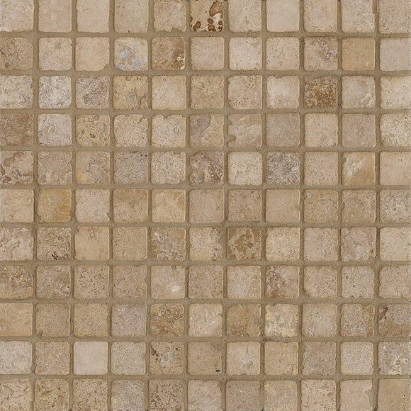 Arizona Tile 12 by 12-Inch Mosaic made from 1 by 1-Inch Tumbled Travertine Tiles, Mexican Noce, 10-Pack