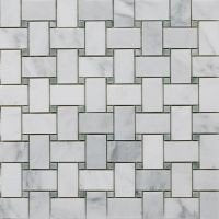 Bianco Carrara White Marble with Ming Green DOT Polished Mosaic Tiles - LOT OF 5 SHEETS