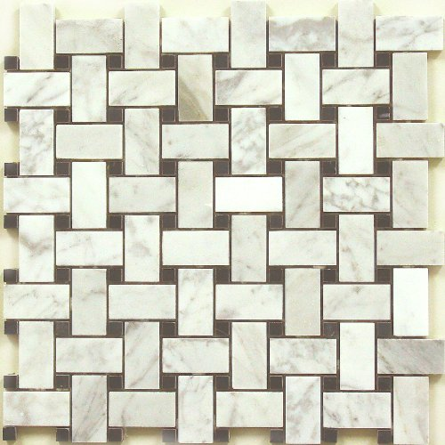 Bianco Carrara with Black Dot Marble Tweed Mosaic Backsplash Marble Tile