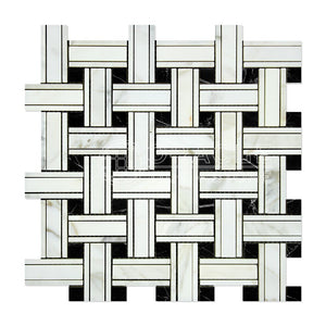 Calacatta Gold (Italian Calcutta) Marble Triple-Weave Mosaic Tile (with Black Marble Dots, Honed)