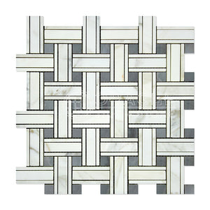 Calacatta Gold (Italian Calcutta) Marble Triple-Weave Mosaic Tile (with Blue & Gray Marble Dots, Honed)