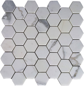 "Carrara (Carrera) Herringbone 1x2"" Honed Venato Mosaic Tile"