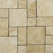 Classic Light Beige Travertine 3-Pieced Mini-Pattern Tumbled Mosaic Tile - 6 X 6 Sample