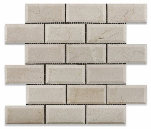 Crema Marfil Marble Polished Beveled 2 X 4 Brick Mosaic Tile - Box of 5 sq. ft.