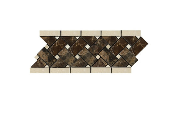 Emperador Dark Spanish Marble Basketweave Border Mosaic Tile with Crema Marfil Marble Dots, Polished