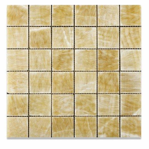 Honey Onyx 2 x 2 Polished Mosaic Tile meshed on 12 x 12 sheet