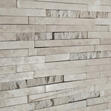 Durango Cream (Paredon) Travertine Polished & Split-faced Random-Strip Mosaic Tile - Sample Piece