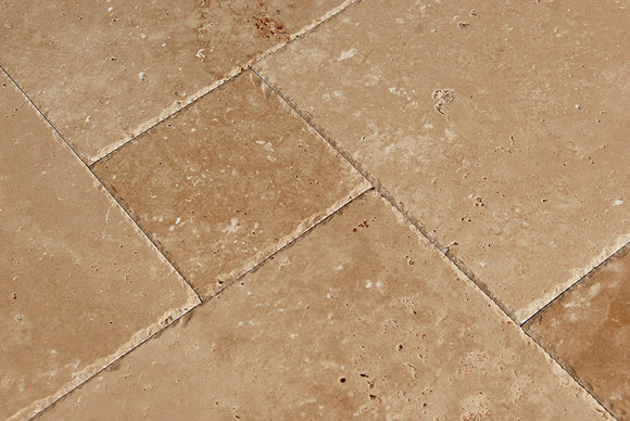 Warm Walnut Travertine Versailles French Pattern Premium Quality Field Tiles, Brushed and Chiseled (LOT of 88 SQ. FT. ( 11 BUNDLES ))