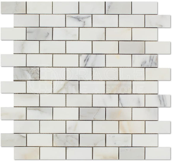 Calacatta Gold (Italian Calcutta) Marble 1 X 2 Brick Mosaic Tile, Honed