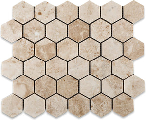 Cappuccino Marble Polished 2-inch Hexagon Mosaic Tile - Lot of 50 sq .ft.