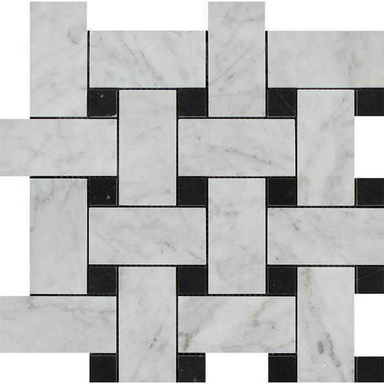 Tilefornia Italian Carrara White Marble Large Basketweave Mosaic Tile w/ Black Marble DotsPolished/Honed