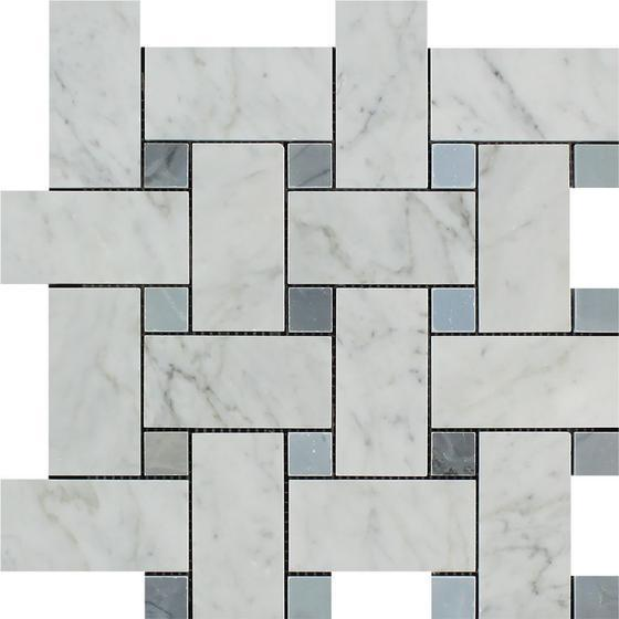 Tilefornia Italian Carrara White Marble Large Basketweave Mosaic Tile w/ Blue/Gray Marble Dots Polished/Honed