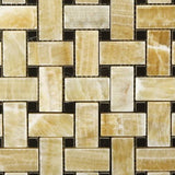 Honey Onyx Basketweave with Black Marble Tile Premium Polished