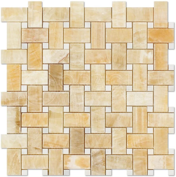 Honey Onyx Polished Basketweave with White Marble Insert Dot - 6