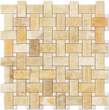 "Honey Onyx Polished Basketweave with White Marble Insert Dot - 6"" x 6"" Sample"