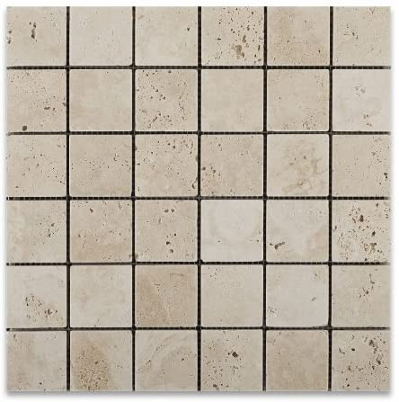 Ivory Travertine 2 X 2 Tumbled Mosaic Tile - 1 Full sheet