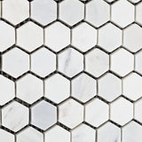 White Marble Hexagon 1x1 POLISHED Mosaic Tiles - 6x6 Sample Only