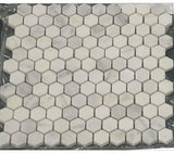 White Marble Hexagon 1x1 POLISHED Mosaic Tiles on 12x12 Sheet - Lot of 50 Sheets