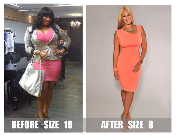 Somaya Reece before at size 18 and after size 8