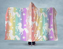 Load image into Gallery viewer, Rainbow Unicorn Stripes Hooded Blanket