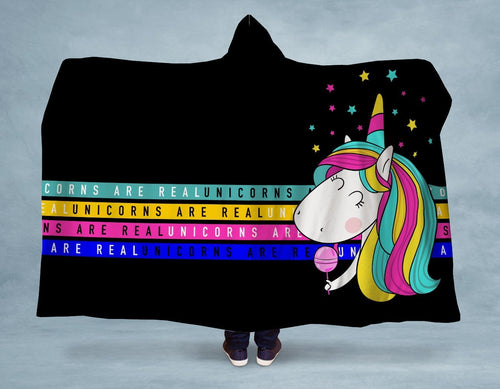 Unicorns are Real Hooded Blanket