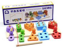 Load image into Gallery viewer, Geometric Magnetic Fishing Montessori Puzzle