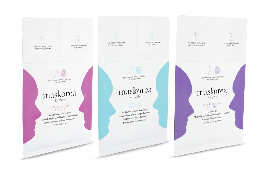 Mixed 3-Pack of Premium 3-Step Face Sheet Masks