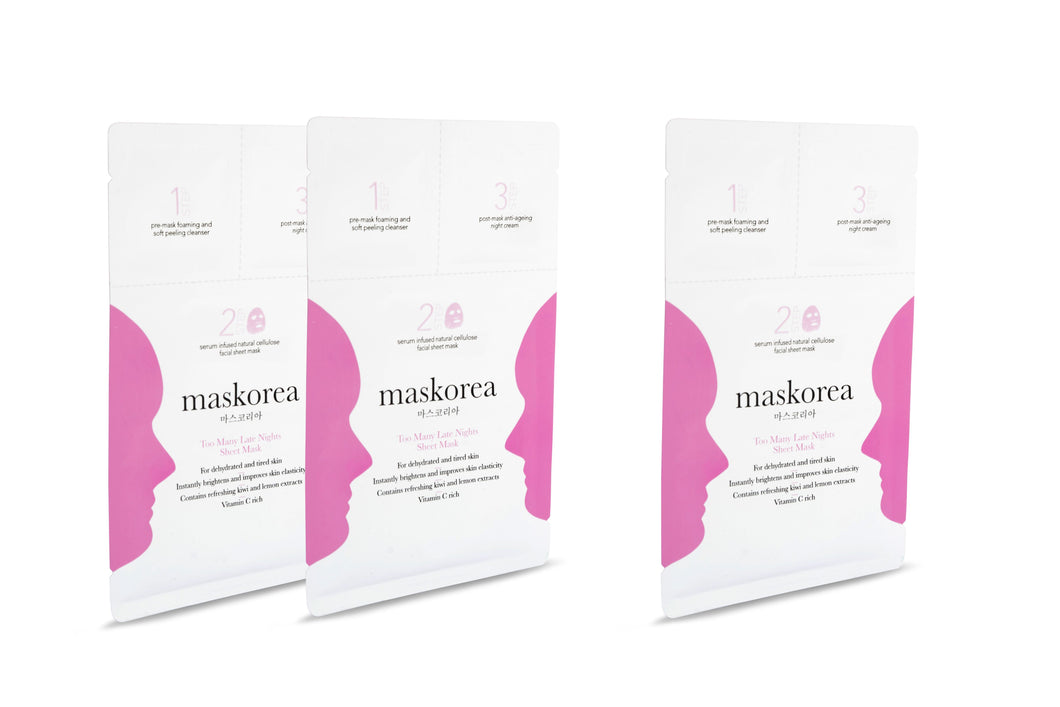 TOO MANY LATE NIGHTS Premium 3-Step Face Sheet Mask (Pack Of 3)
